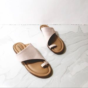 Lucky Brand Anora Sandal 9 Pink One Toe Slides Tan